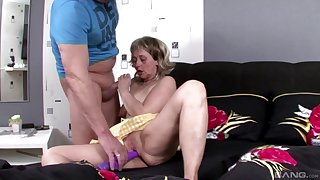 After dildo pleasing mature Marianne wants to feel friend's shaft