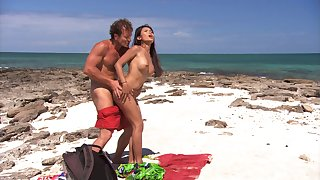 Stunning Priva adores standing doggy with her lover at the beach