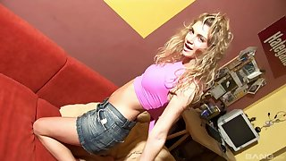 Blonde girl masturbates on the bed thinking about friend's hard dick