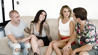 Sex-crazy babe Emma Hix invites one swinger couple for group sex