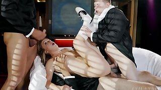 Three men ravish a babe's tight holes in brutal XXX