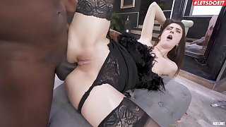 Hardcore interracial shagging with regard to anal caring hottie Lina Luxa