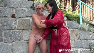 Young girl joins a much-older daring lady be useful to a public fourway fuck